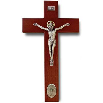 9in. Rosewood finish crucifix with Holy Spirit medallion