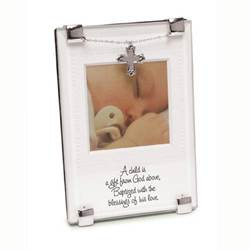 A Child Is A Gift From God Frame new baby, new baby gift, baptism, baptism gift, christening, christening gift, frame, baby frame, cross charm, baptism frame