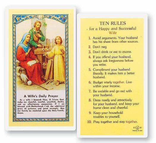 A Wife's Daily Prayer Laminated Holy Card