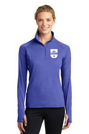 Ladies Smooth Quarter Zip Iris Purple w/white QAS Logo *SPIRITWEAR*