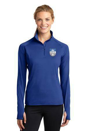 Ladies Smooth Quarter Zip Royal w/4 color QAS Logo *SPIRITWEAR*