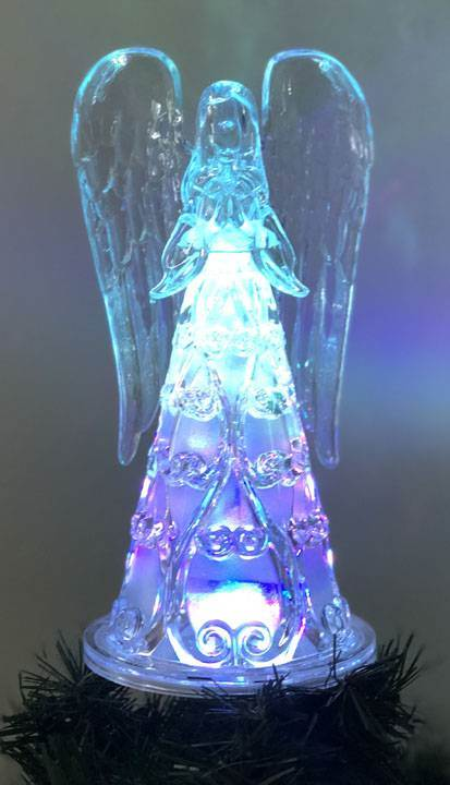 "8"" Color Changing Led Angel Tree Treetopper, Acrylic"