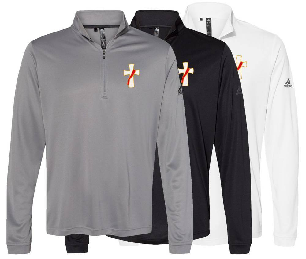 Adidas Dri-Fit Lightweight Quarter-Zip Pullover with Embroidered Deacon Cross