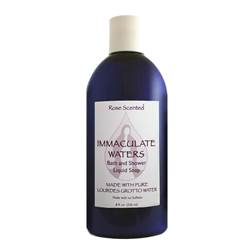 All Natural Rose scented Bath and Shower Liquid Soap, Made with Lourdes Water