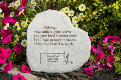 Although Your Smile Is Gone Personalized Memorial Garden Stone