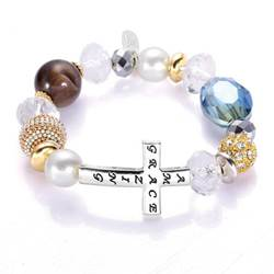 Amazing Grace Silver Cross Bracelet