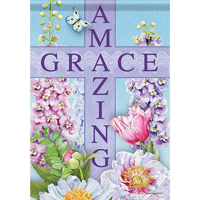 Amazing Grace with Cross Garden Flag