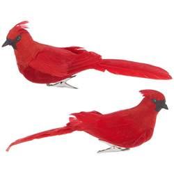 "7 "" CLIP-ON CARDINAL ORNAMENT SOLD ASSORTED; Made of Foam/Feather"