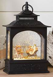 Animals in Sleigh Lighted Water Lantern 11""