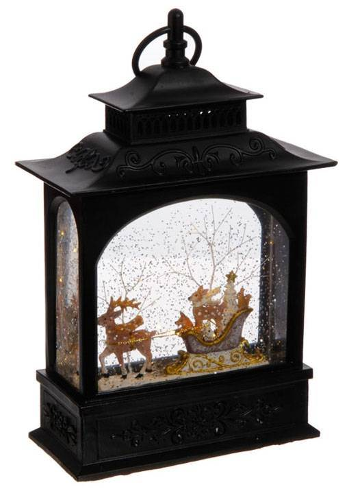 "Animals in Sleigh Lighted Water Lantern 11""  tall"
