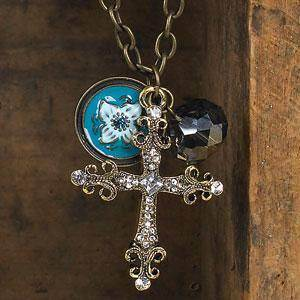 Antique Cross Necklace with Blue Flower Charm necklace, blessed stone, charm necklace, jewelry, m-cnc-02c