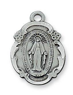 "Antique Plated Pewter Miraculous Medal on 18"" Chain"