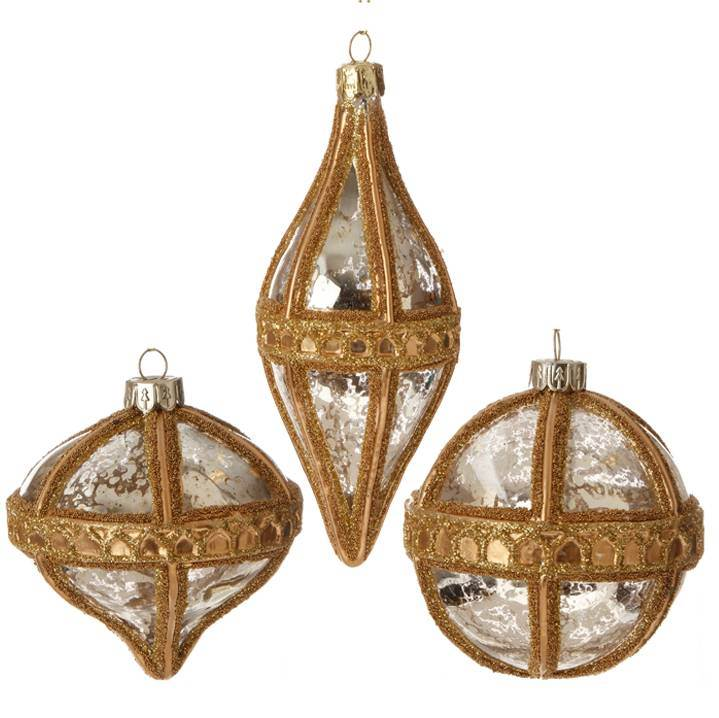 "Assorted 3"" Antiqued Gold Ornament"