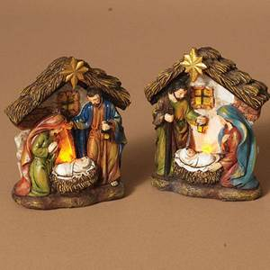 "Assorted 4.5"" Lighted Holy Family Figurines"
