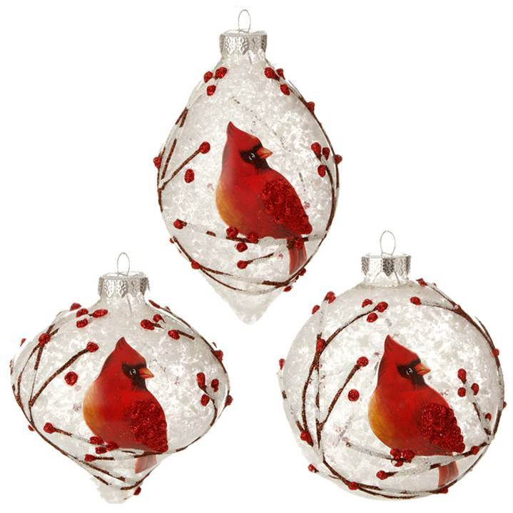 "Assorted 4"" Glass Snowy Cardinal Ornament"