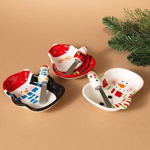 "Assorted 6"" Holiday Dish & Spreader Sets"