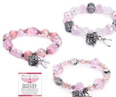 Assorted Believe For a Cure Prayer Box Bracelets