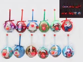 Assorted Blinking Nose Ball Ornaments, Sold Individually