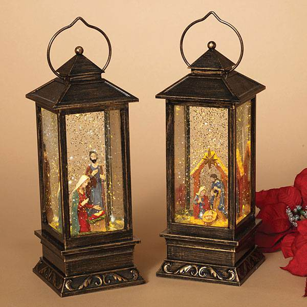 KESYOO Nativity Scene Lighted Water Lantern Lighted Christmas Snow Globe Lantern Xmas Holiday Home Decorations Black