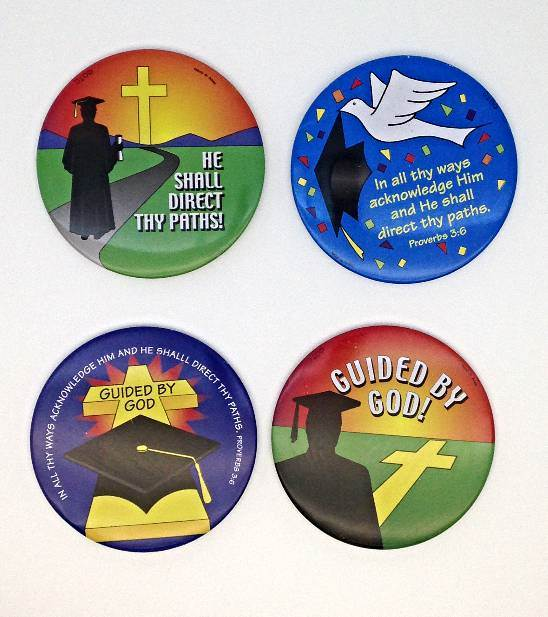 Assorted Graduation Button Pins/12 PK