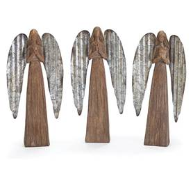 Assorted Rustic Resin Wood look Angel Statues with Tin Wings
