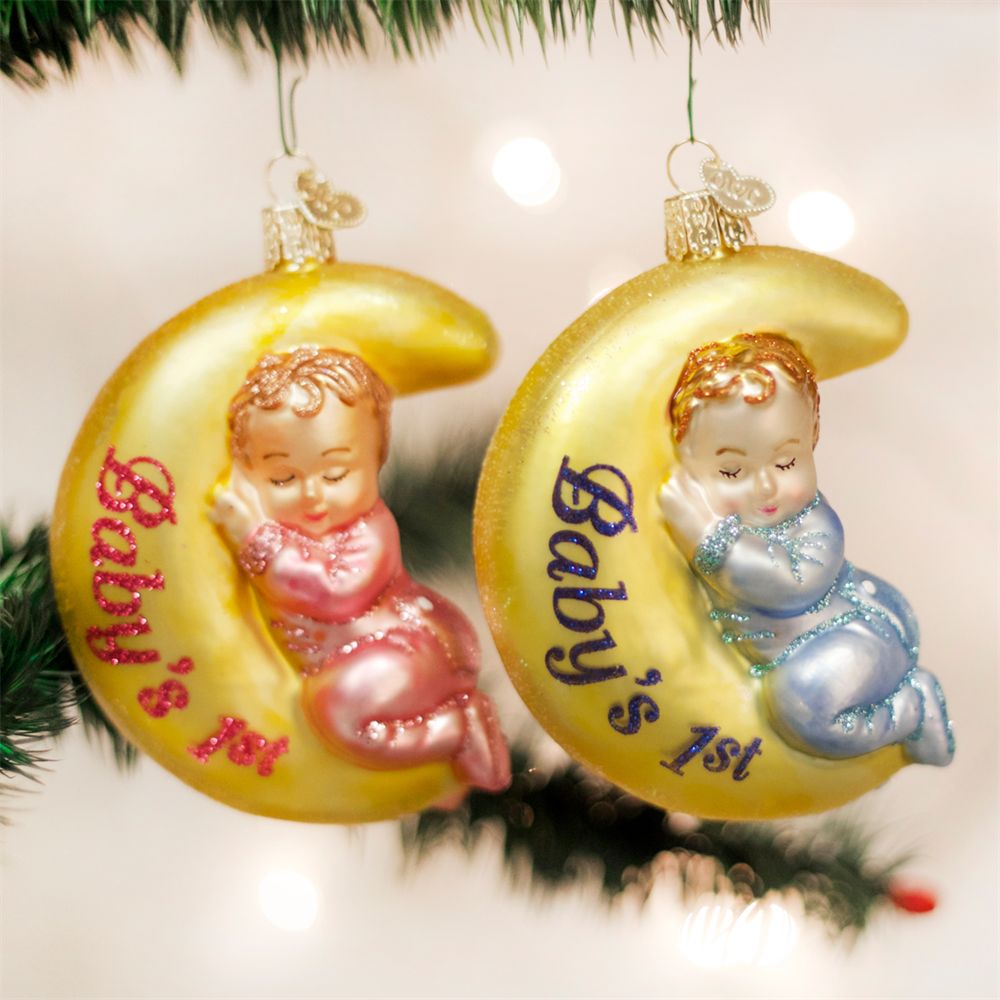 Assorted Sleeping Baby and Moon Ornament