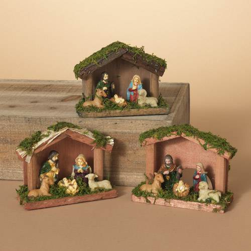 "4.7"" Resin Nativity Scene w/ Moss Stable & 5 Figurines, 3 Assorted"