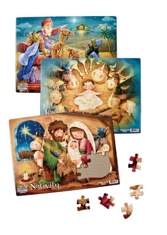 Assorted Childrens Christmas Jigsaw Puzzles *WHILE SUPPLIES LAST* nativity puzzle, kids puzzles, jig saw puzzle, jigsaw puzzles, religious puzzles, kids gifts, childrens presents, inexpensive, cheap, sale,