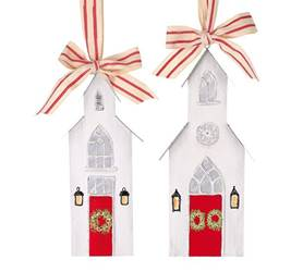 Asst Hand Painted Wood Church Ornaments, Large