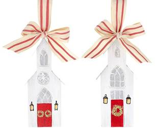 Asst Hand Painted Wood Church Ornaments, Sold Each