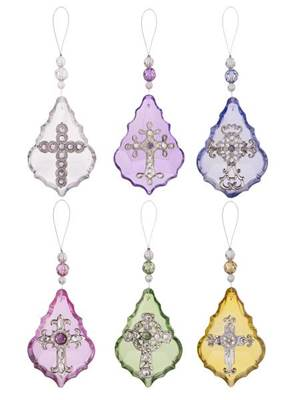 "Asst Sacred Blessings Glass Ornaments; PRICE IS FOR EACH; SOLD ASSORTED  4.25"" teardrop glass sun catcher for window or auto rear view mirror."