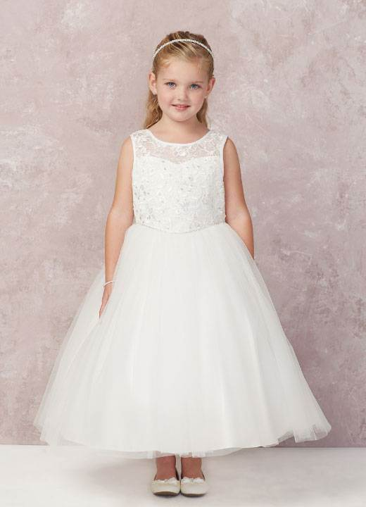 Ava White First Communion Dress Illusion Lace Top, Tulle Skirt
