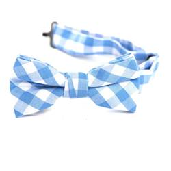 Baby Blue & White Gingham Bow Tie