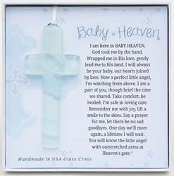 "Baby Heaven: Infant Memorial 4"" Glass Cross"