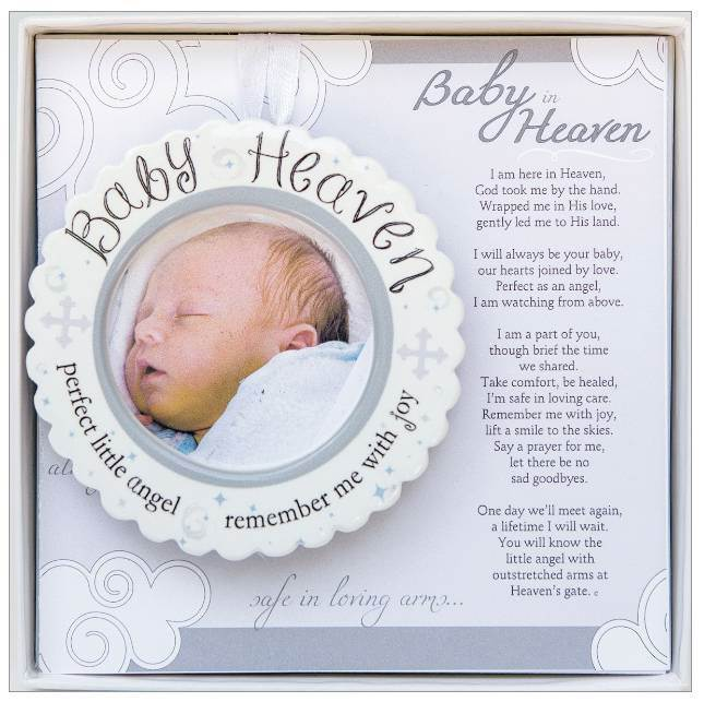 "A truly special memorial gift for miscarriage or loss of a baby/infant. It is a remembrance gift of comfort for grieving families. Our 3.5"" scalloped ceramic ornament features a 2"" space for an ultrasound, photo or name and date insertion."