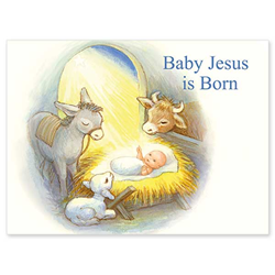"Baby Jesus is Born Boxed Christmas Card Inside reads: ""Wishing you a very happy Christmas.  And remember to say a little prayer to thank Baby Jesus to coming."" Box of 20 4.5""x6"" cards / 21 envelopes Made in USA"
