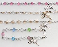 Baby Rosary Bracelets rosary bracelet, crystal bracelet, first communion bracelet, first communion gift, holy eurcharist gift, girl bracelet, colored crystal bracelet, sacramental gift, crystal , pink, perarl, multi colored, 27852, 27849, 27856, 27853