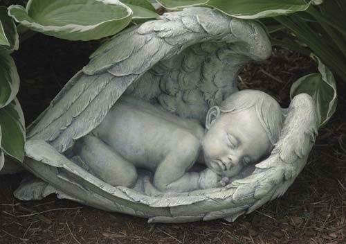 Baby in Wings Garden Statue angel,  prayer angel, angel gift, memorial angel, comfort angel. angel statue, angel figure, 11276, healing angel,baby and angel wings , garden angel,