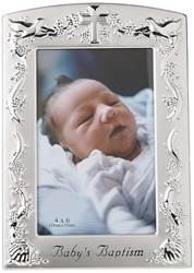 "Babys baptism frame holds 4"" x 6"" photo. Two-tone silver frame.  ??The Baby Baptism Two Tone Picture Frame is great for capturing this special moment. Overall 8.4"" x 6"""