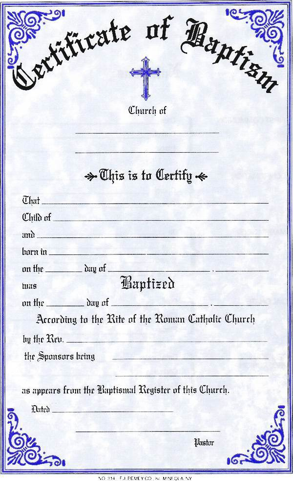 Baptism Certificate  certificate, church goods, sacramental certificates, baptism, first communion, confirmation, marriage, death,