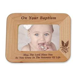 Baptism Laser Engraved Maple Wood Photo Frame