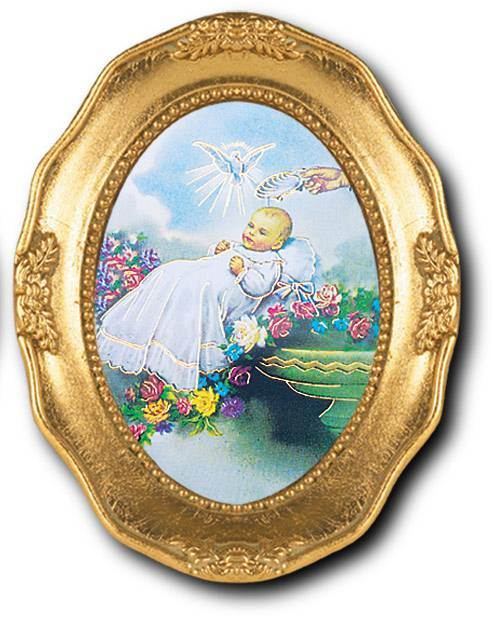 "Baptism 3.5"" x 4.5"" Gold Leaf Frame, Italian Gold Stamped Prints Under Glass with Easel Back (Comes Gift Boxed)"