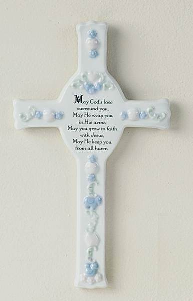 Our porcelain May God's Love Surround You wall cross baptism gift offers a reassuring blessing amid delightful bas relief designs. It's destined to grow into an heirloom to commemorate that special Baptism day.