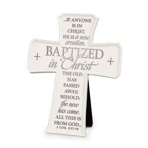 Baptized In Christ Cross ceramic cross, hanging cross, jesus loves me, baptism cross, christening cross, sacramental cross, baby gift, 11266