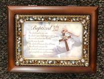 Baptized In The Lord Jeweled Woodgrain Music Box Plays: Amazing Grace