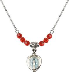 "Beaded Miraculous Pendant with 18"" Chain"