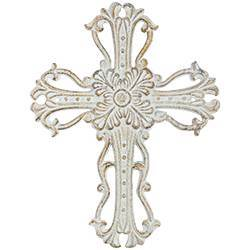 Beige Rosette Cast Iron Wall Cross