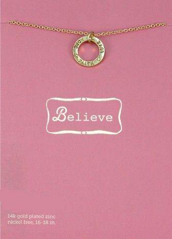 Believe: Faith Hope Love Necklace-Gold