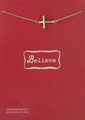 Believe-Sideways Gold Cross Necklace necklace, gold, friendship necklace, believe, faith, hope, love, cross,sideways
