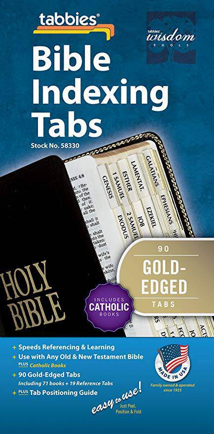 Tabbies Catholic Gold-Edged Bible Indexing Tabs, Old & New Testament Plus Catholic Books, 90 Tabs Including 71 Books & 19 Reference Tabs (58330)